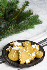 Traditional homemade Christmas biscuits on a delicate background.
