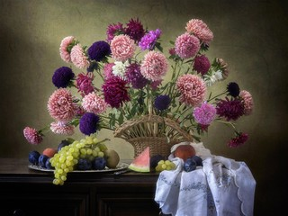 Still life with bouquet of beautiful  aster flowers