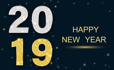 Happy New Year 2019 greeting card with shiny figures.