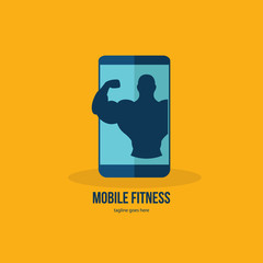 Mobile fitness. Fitness app - online fitness training icon with smartphone, flat design