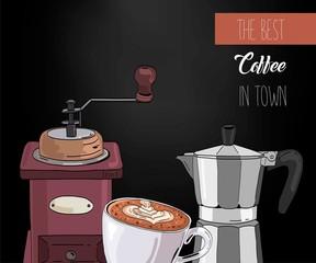 Coffee background. Vintage design for coffee shop, restaurant menu.