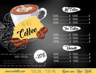 Vintage chalk drawing coffee menu design.