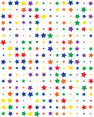 Seamless pattern with colorful  stars on white background