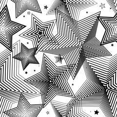 Star pattern. Star geometric background. Strip line stars. Abstract lines.
