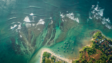 Wall Murals Green blue Beautiful aerial view of tropical coastline and fisherman village