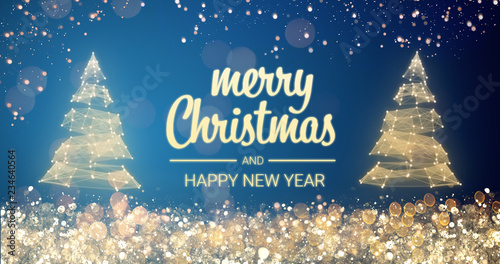 sparkling gold and silver lights xmas tree merry christmas and happy new year greeting message on