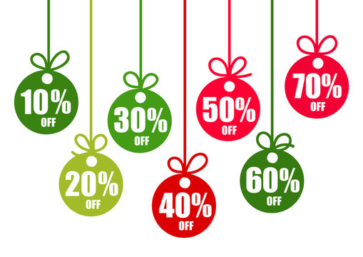 Set of discount tags 10,20,30,40,50,60,70 percent off in the shape of Christmas balls in traditional colors. Winter holiday discount offer. Vector illustration.