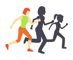 Running Race Woman and Shadow Vector Illustration