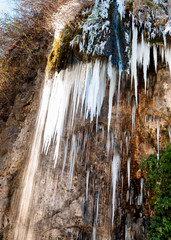 Stalactites in the Caves of Valganna in frosty winter day, province of Varese, Italy