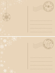 light brown postcards for winter holidays - vector holiday backgrounds