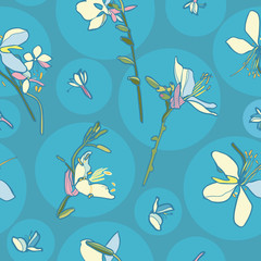 Japan inspired floral seamless vector pattern with lily. Surface pattern design.