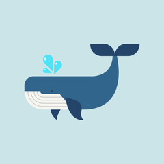 Whale in flat style