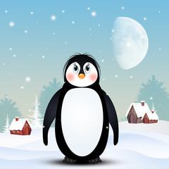 illustration of penguin in winter