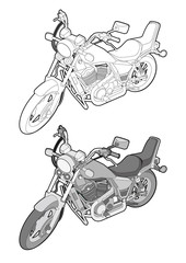 Motorcycle Bike vector illustration flat sketches
