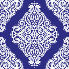 Blue and white vintage vector seamless pattern, wallpaper. Elegant classic texture. Luxury ornament. Royal, Victorian, Baroque elements. Great for fabric and textile, wallpaper, or any desired idea.
