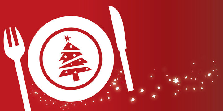 Einladungskarte zum Weihnachtsessen - Teller Besteck und Weihnachtsbaum auf rotem Hintergrund