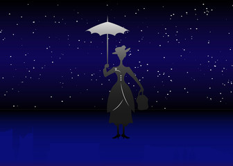Silhouette girl floats with umbrella in his hand, vector starry sky background
