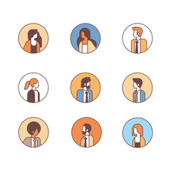 set mix race people avatar profile business man woman office workers concept female male cartoon character portrait collection line isolated