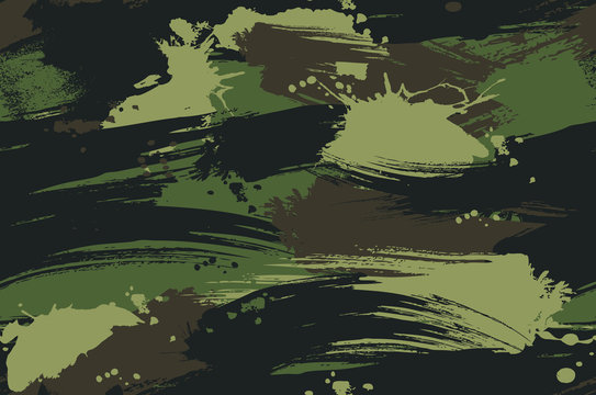 Seamless Brush Stroke Camouflage Pattern