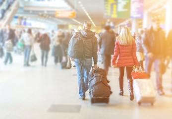 People at modern airport lounge terminal