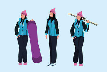 Wall Mural - women skier snowboarder holding equipment happy girls wearing ski suit winter vacation activity concept female cartoon character full length flat horizontal