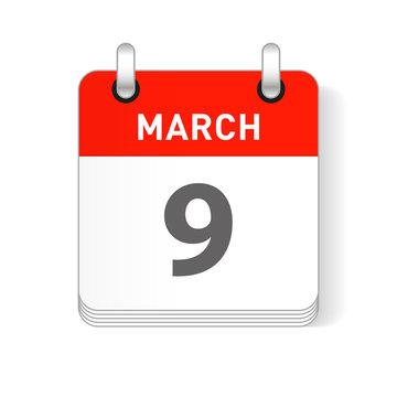 March 9 Calendar Date Design