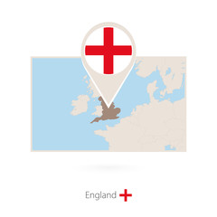 Rectangular map of England with pin icon of England