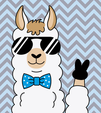 cool alpaca with sunglasses and making victory with fingers