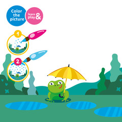 Frog with an umbrella in the rain. Draw rain. Game for small children. Develop care drawing skills. Coloring. For childrens magazines. Learn and play. Educational vector illustration for babies