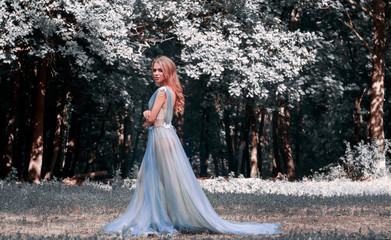 A girl in a transparent dress, in lingerie, walking through the spring forest