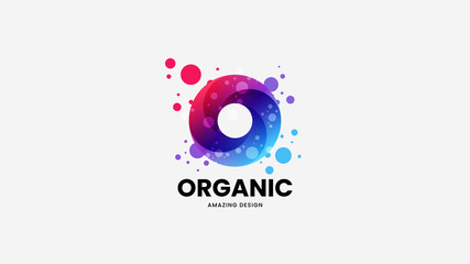 Modern creative abstract ring organic vector logo sign for corporate identity isolated on white. Premium quality logotype emblem illustration. Fashion colorful natural and healthy badge design layout.