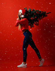 sexy Christmas fitness sport woman wearing santa hat holding xmas tree on her shoulders. snowflakes