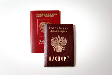 passport and passport of the Russian Federation on a white background