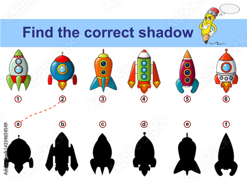 Find correct shadow  Kids educational game  Spaceship