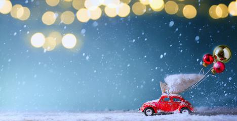 Christmas tree light and Christmas tree on toy car