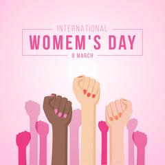 international women day with woman Fist hands vector design