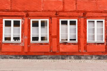 Red House with white windows in Helsingor Denmark