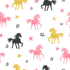 Seamless unicorn pattern. Vector background with watercolor unicorns and stars.
