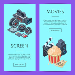 Vector cinematograph isometric elements web banner and poster templates illustration