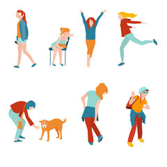 Girls kids and teens in various poses, flat style, vector illustration. Set of people in motion isolated on white background.