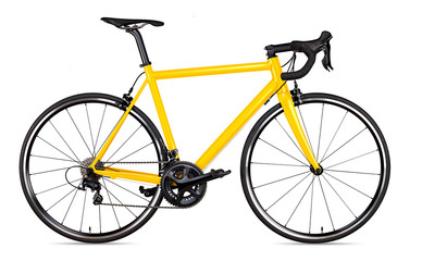 Foto op Plexiglas Fietsen yellow black racing sport road bike bicycle racer isolated