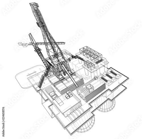Offshore Oil Rig Drilling Platform Concept Vector Stock Image And