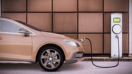 Aufladen eines Elektroautos SUV auf einem Parkplatz mit Ladesäule in urbaner Umgebung