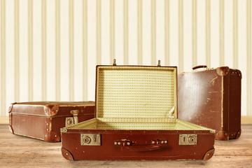 retro suitcase on floor