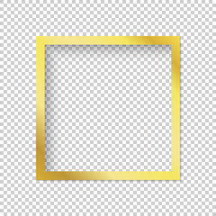 Modern gold vector empty frame isolated on transparent background.