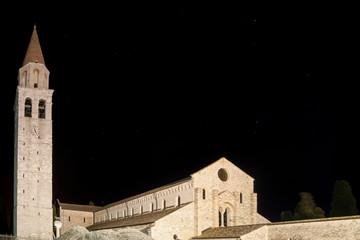 Beautiful night view of the Basilica of Santa Maria Assunta of Aquileia, Udine, Friuli Venezia Giulia, Italy