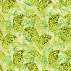 Chameleons. Watercolor background image. Seamless pattern. Use printed materials, signs, items, websites, maps, posters, postcards, packaging.