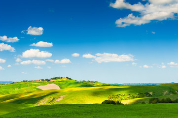 Green fields and blue sky in Tuscany, Italy.
