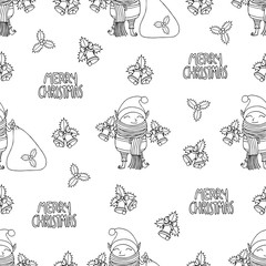 Seamless pattern with Cute funny cartoon character christmas elf with long scarf holding two handbells