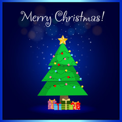 Merry Christmas greeting card of cute cartoon fir tree with gifts